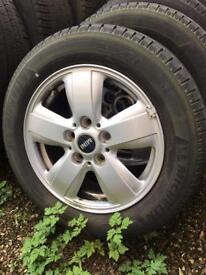 "Four 15"" Mini wheels and tyres"