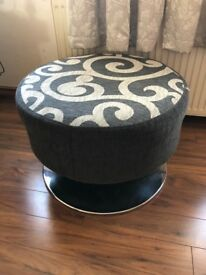 Grey and Stone Footstool / Pouffe with Stainless Steel Base