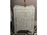Graham and Green Classic white mother of pearl bedside tables