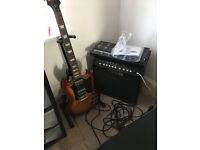 SG Epiphone guitar with line 6 amp and pedals