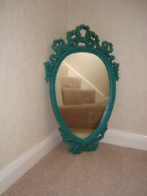 Shabby Chic ornate mirror painted in Annie Sloan 'Florence'
