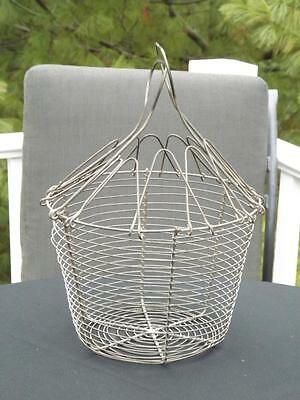 Large Primitive Folding Handles Covered Round Wire Egg Basket 19th Century
