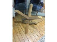 Wooden Cross Leg Round Glass Dinning Table for sale
