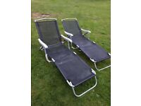 Garden Recliner Chairs - (Pair) Folding Sun Pool Lounger