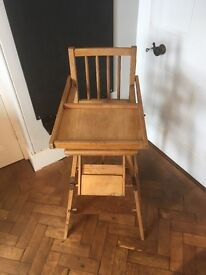 Vintage Highchair that transforms into into a wheeled table and chair