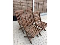 4 foldable wooden patio chairs