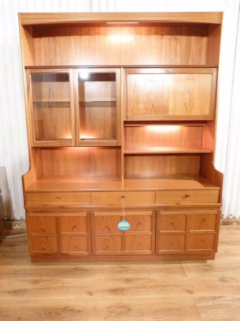 Nathan teak glass display wall unit in knowle west