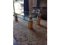 GLASS COFFEE TABLE WITH 4 LIONS (FREE LOCAL DELIVERY)