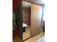 Wardrobe IKEA PAX light brown mirror malm moderm style