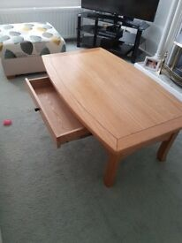 Solid oak coffee table with drawer for sale