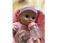 ZAPF CREATION VINTAGE ORIGINAL ANNABELLE LAUGHING, CRYING DOLL WITH STRAP CAR SEAT CARRIER