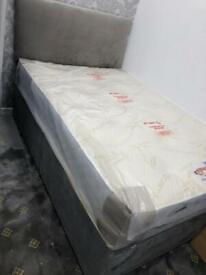 Grey Divan Bed + Mattress