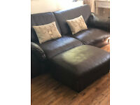 4 Seater Leather Sofa, 2 seater love Chair & Foot Stool from DFS, Leather Suite