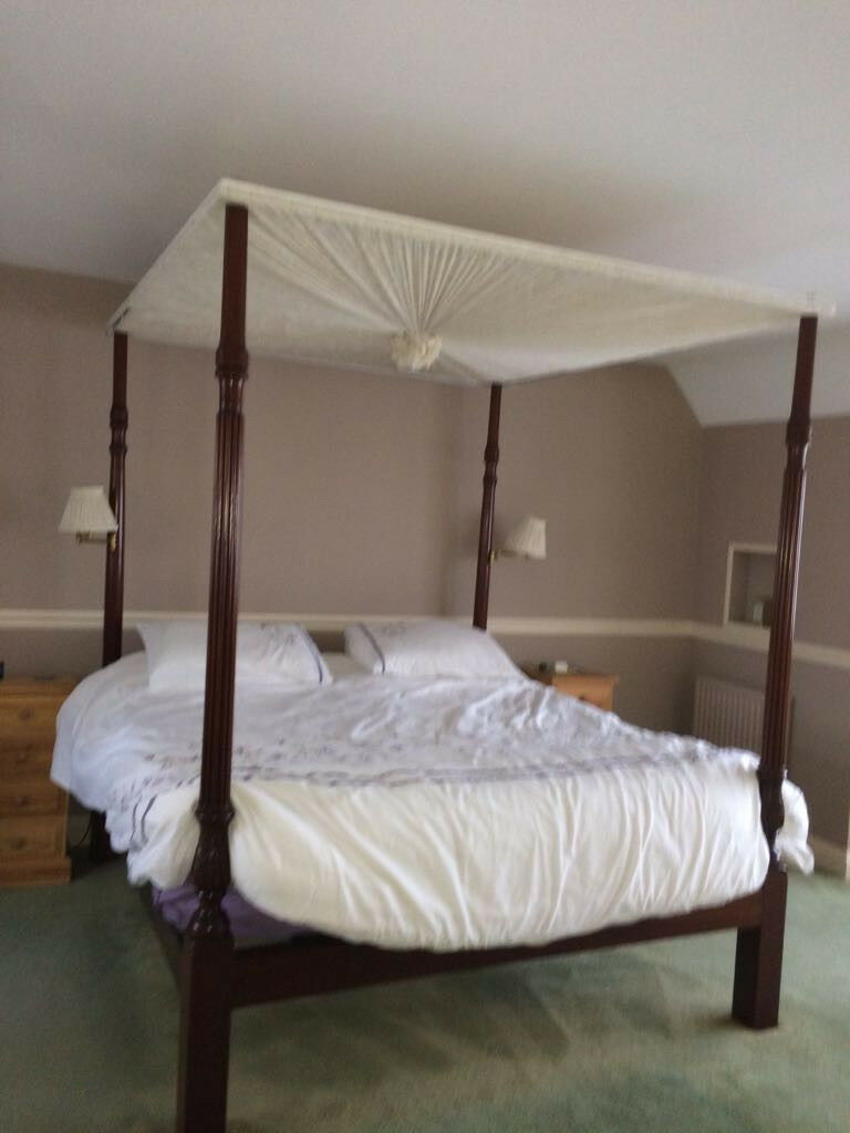 Four Poster Bed Super King Dark Wood With Canopy And Curtains Was 4800 New In Ashford Surrey Gumtree