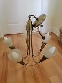 Brass effect 5 lamp Ceiling Light