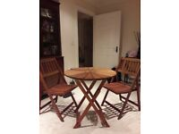 Wooden round table and 2 chairs for sale £55.00