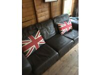 Brown 100% leather 3 seater sofa