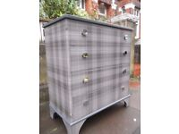 Four Drawer Solid Wood Vintage Chest restyled in grey & charcoal tartan