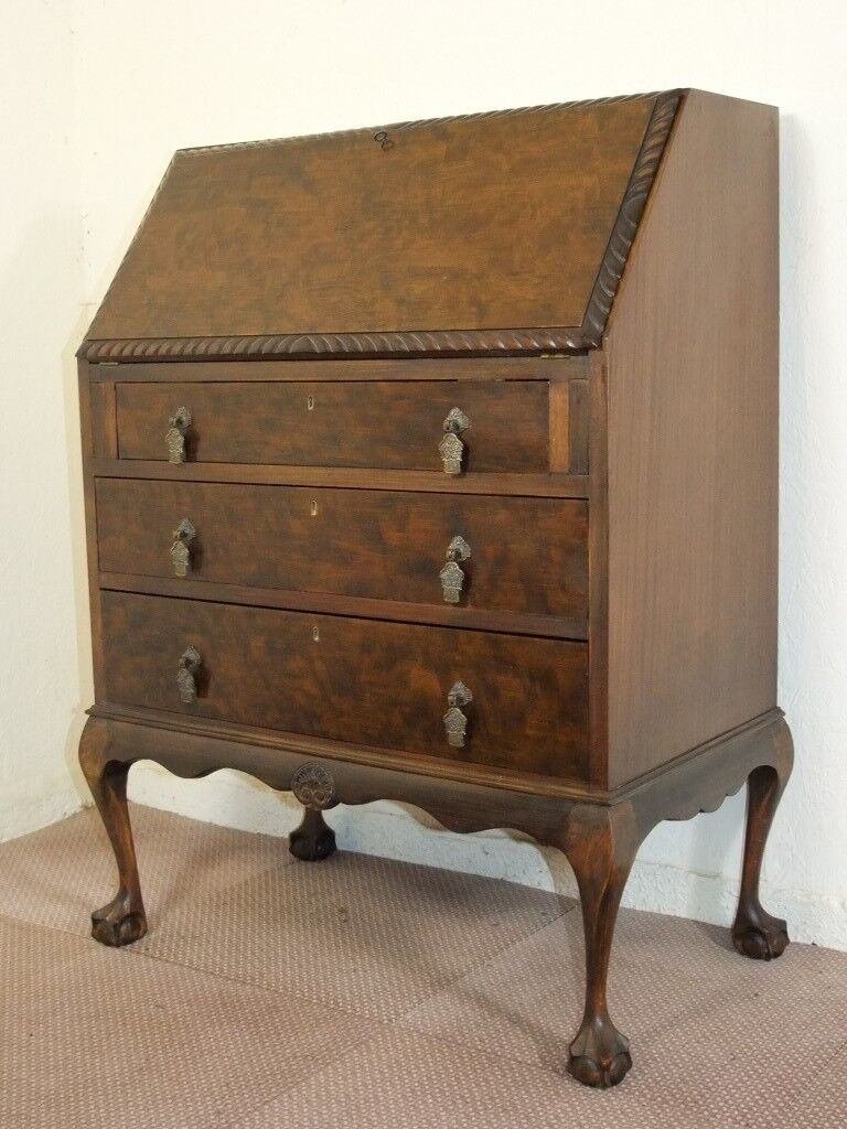 Vintage Queen Anne Leg Ball Claw Foot Gany Writing Bureau Desk Free Delivery In Glasgow