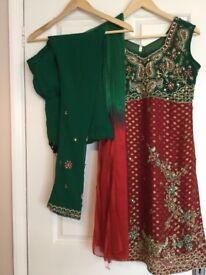 Green and maroon chiffon shalwar suit