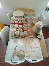 Trays, plates, bowls, mugs, saucers, coffee pot central London bargain