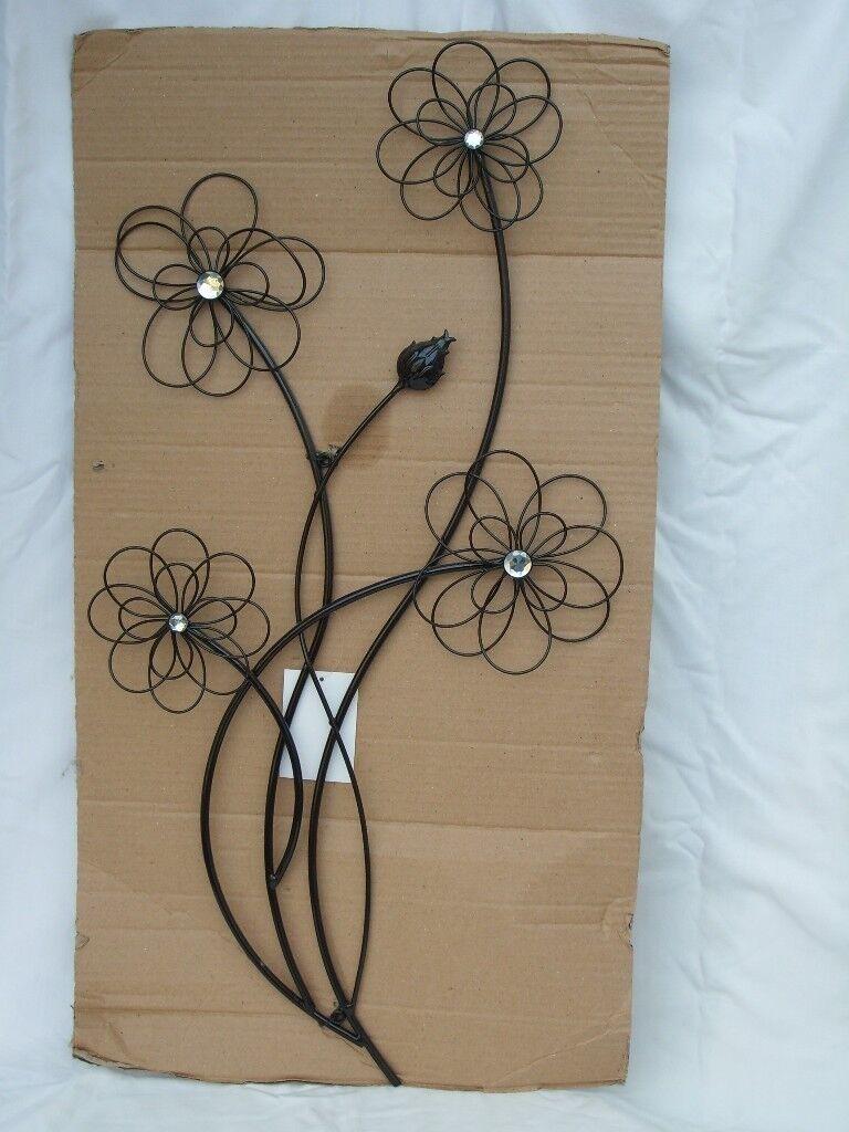 Black Metal Flowers Wall Art New