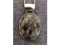 Hallmarked Silver Pendant with stone on 16inch silver chain