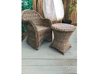 Rattan/wicker bistro set chair and table