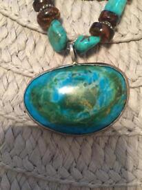 Turquoise & amber necklace