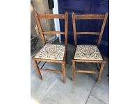 Pair of wooden bedroom chairs Or great for hallways as small