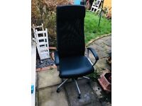Almost brand new Black Ikea Markus Swivel Chair (bought £150) + free extendable table if you wish