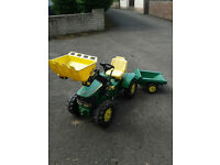 John Deere Lader quality ride on play kids tractor with digger and trailer
