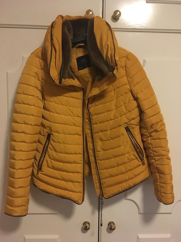 ZARA Mustard Short Puffer Jacket Anorak Coat with Fur ...