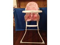 Pink child's high chair for sale