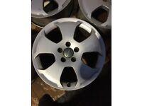 "Silver Audi alloys 5 Stud 17"" inch x4 full set"