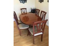 Dining table & 6 chairs - mahogany
