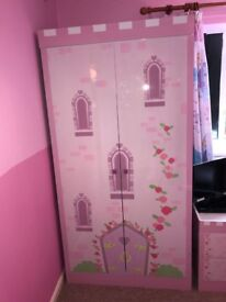 Princess castle wardrobe and bedside table