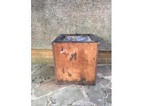 Vintage wooden tea chest planter