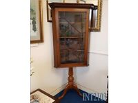 Vintage Style Mahogany Corner Display Cabinet on Pedestal