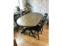 Solid oak/pine dining table rustic & 4 chairs set