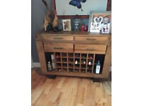Solid Oak sideboard with wine rack from creations
