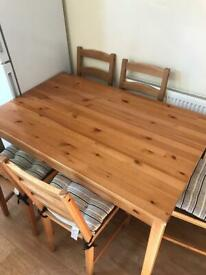 Dinning table, 5 chairs, 4 matching pillows