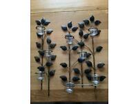 Leaf design tealight candle Metal Votive Sconce Wall Art