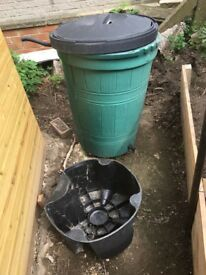 2 no 210 ltr waterbutt 1 with stand