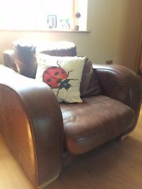 Brown Leather Armchair John Lewis retro style