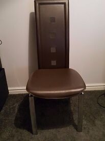6 x Brown Faux Leather Dining Chairs With Chrome Legs