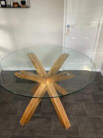 Dining table £150 NEXT GLASS OAK TABLE