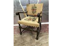Antique Embroidered Victorian Carved Armchair.