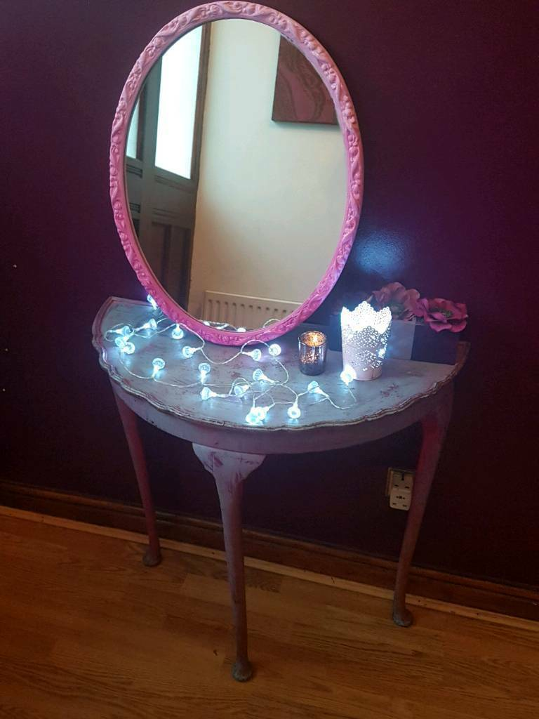Pink ombre hand painted mirror