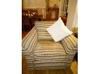 Single Armchair Beige and Brown Striped